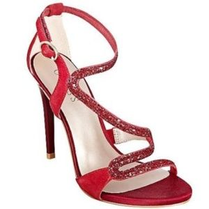 Guess CORALY Suede High Heel Strappy Sandals RED